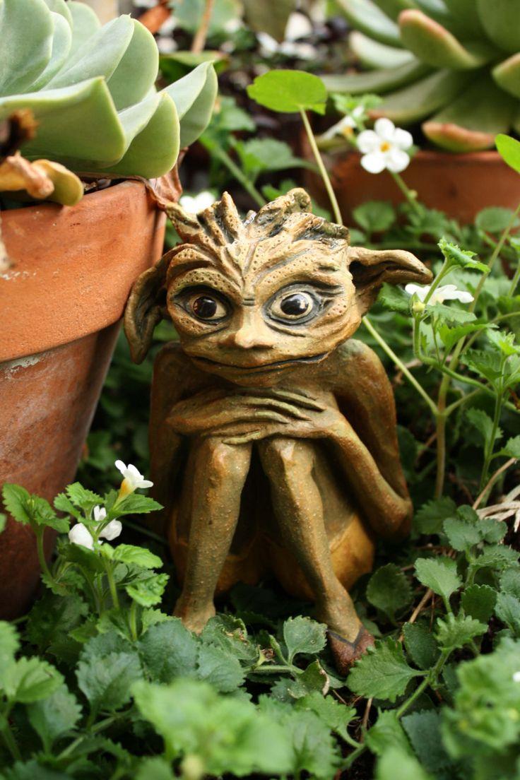 nervous nelly garden goblin original sculpture small