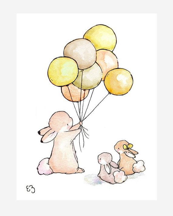 Children Art Print. Balloons for Bunnies GOLDEN. by LoxlyHollow