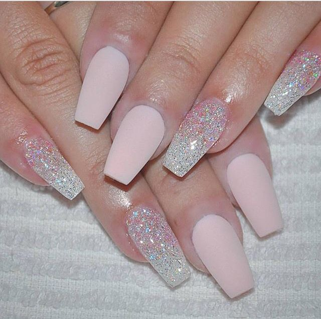 Cute Pink Matte Nails With Glitter Accents