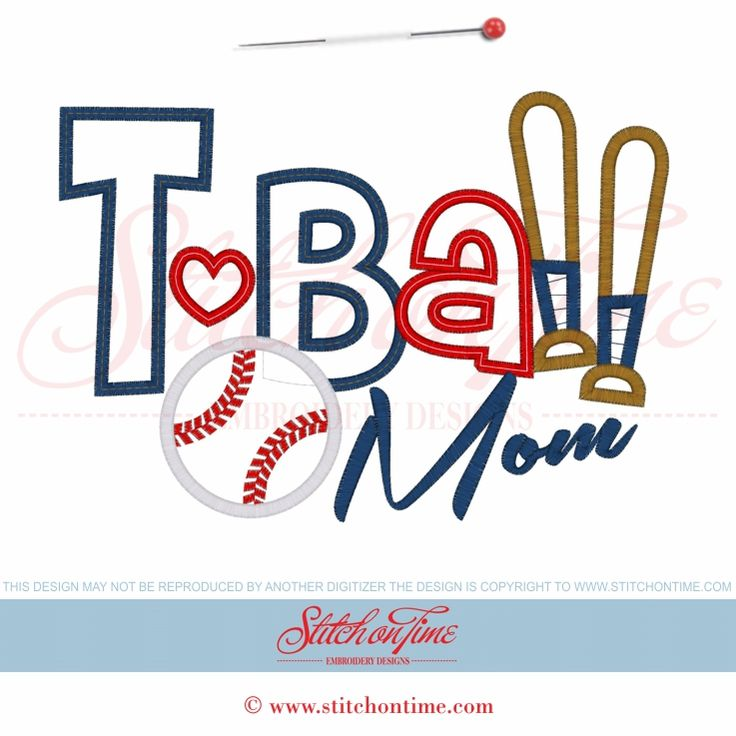 28 T-Ball : T-Ball Mom Applique 6x10
