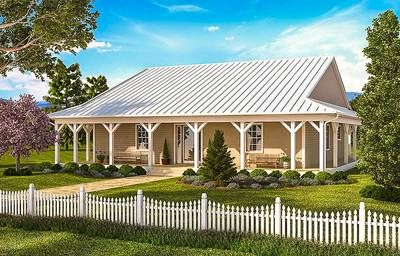2 Bed House Plan with Wraparound Porch - 86009BW thumb - 01