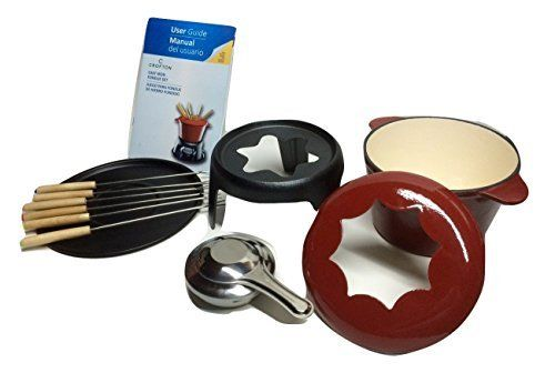 Crofton 11-piece Fondue Set With Recipes. Suitable for Chocolate, Cheese, Broth or Oil. Elegant and Sleek, yet Heavy-duty and Sturdy. Rich Red Color. Built to Last!