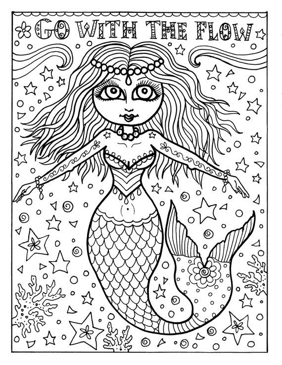 285 best Mermaid Coloring Pages for Adults images on Pinterest - new little mermaid swimming coloring pages