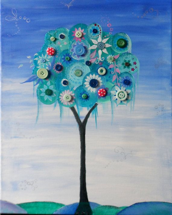 Christmas Button Tree Canvas Painting by TryingNotToHibernate, £45.00