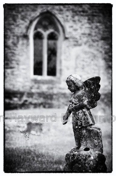 A beautiful, haunting black and white image of churchyard cherub / angel. A rare (for me) portrait oriented image, I love the textures and detail