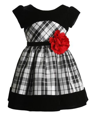 This Black Plaid Short-Sleeve Dress - Infant & Toddler is perfect! #zulilyfinds