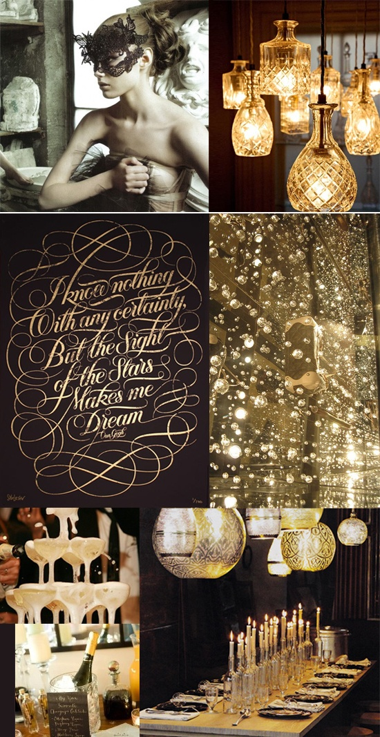 Black and gold masquerade party new year 39 s eve black for Gold party