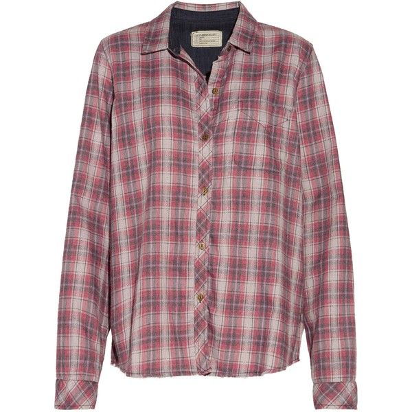 CURRENT/ELLIOTT   The Slim Boy plaid flannel shirt ($120) ❤ liked on Polyvore featuring tops, colorful plaid shirt, red plaid top, colorful shirts, red flannel shirt and flannel shirt