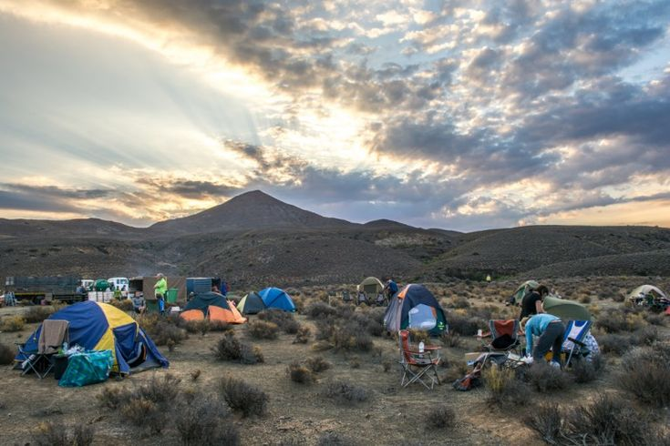 Walkers set up for an evening under the stars on the Tankwa camino in South Africa