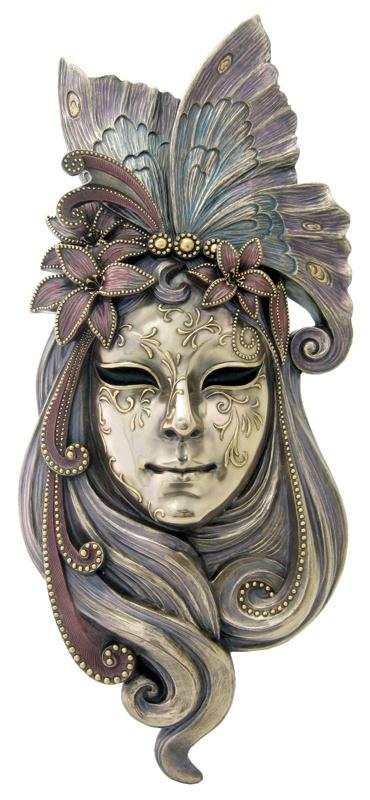 "Lg Venetian Lady Butterfly Mask Wall Plaque Bronze 20"""