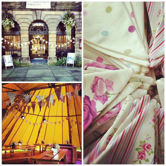 Mixture of three fabrics with a pinkey heather tone: floral, dots and stripes. Available in 10 metre lengths to hire (UK only)