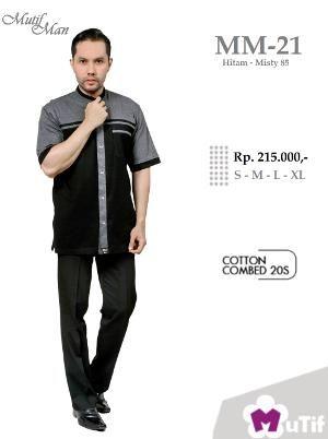 Baju Kemeja Pria Mutif Man MM 21Hitam - Ramadhan Sale