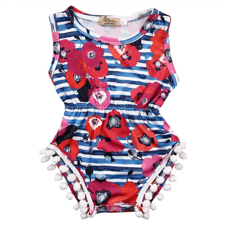 Fashion Floral Girls Rompers Sleeveless Kids Jumpsuit Outfit Sunsuit Clothes Lovely Fringes Tassels Girls Summer Clothes Rompers