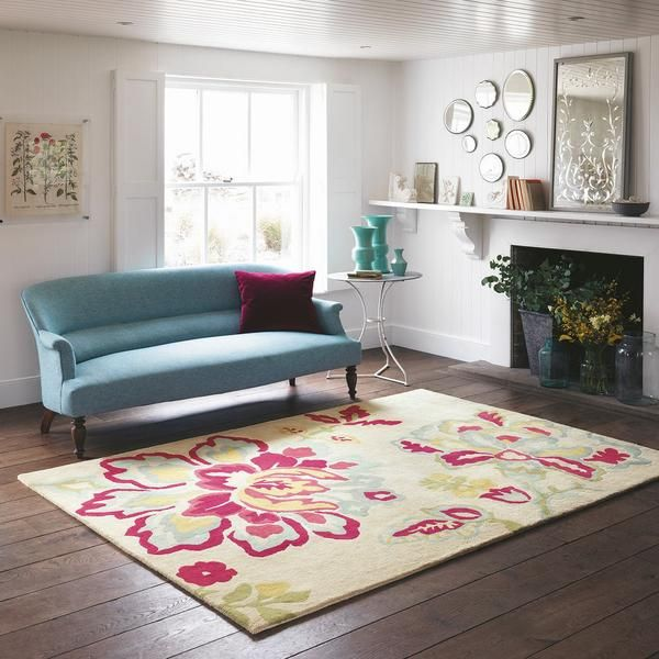 The Sanderson Angelique Rose 46500 Modern Designer Wool Viscose Rug is a stunning new floral designer rug to our collection.