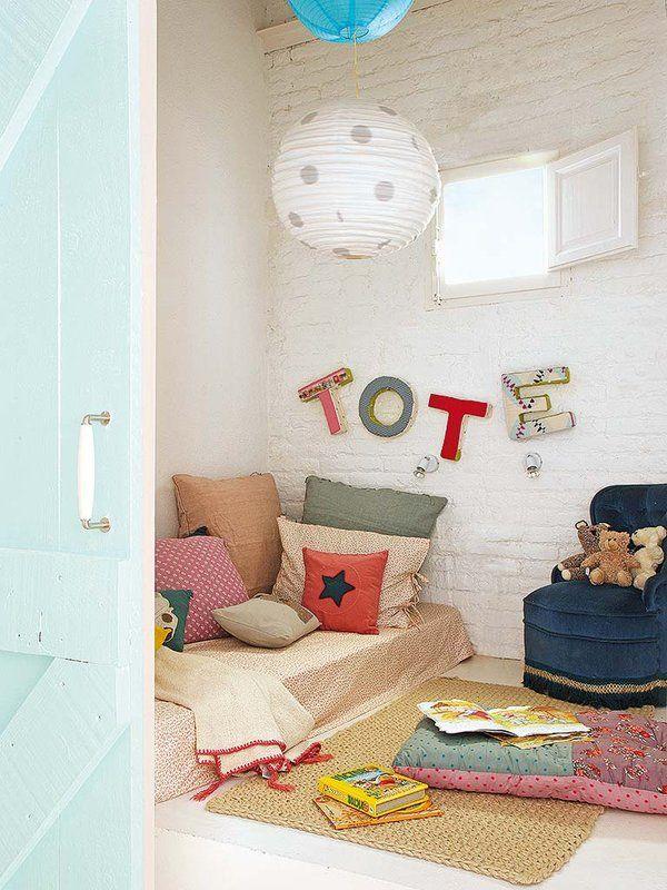 #Dormitorio #infantil estilo hippy chic. La cama se ubica en el suelo.