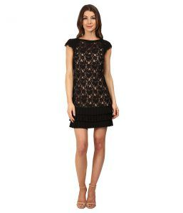 Jessica Simpson Lace Dress with Tiers (Black/Nude) Women's Dress