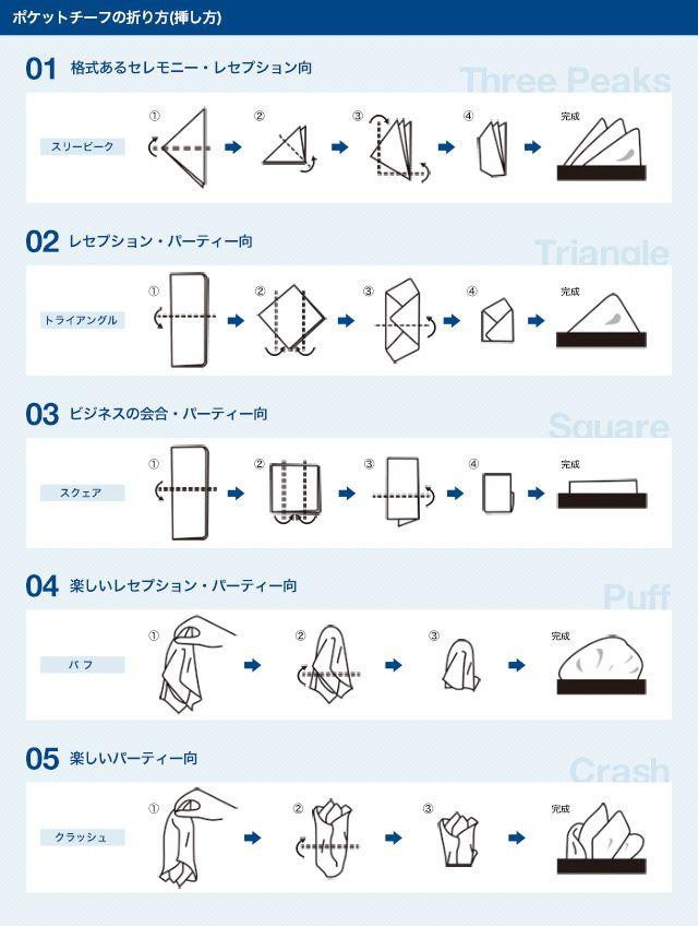 ポケットチーフの折り方(挿し方)