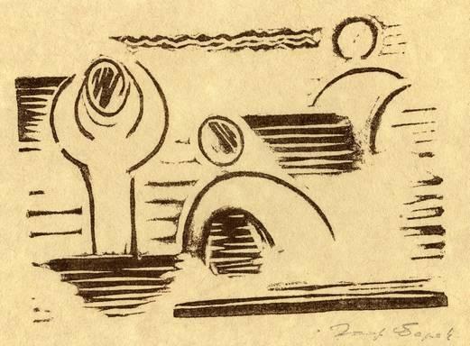 Josef Čapek, koupání,  linocut  13 x 19 cm, 1917