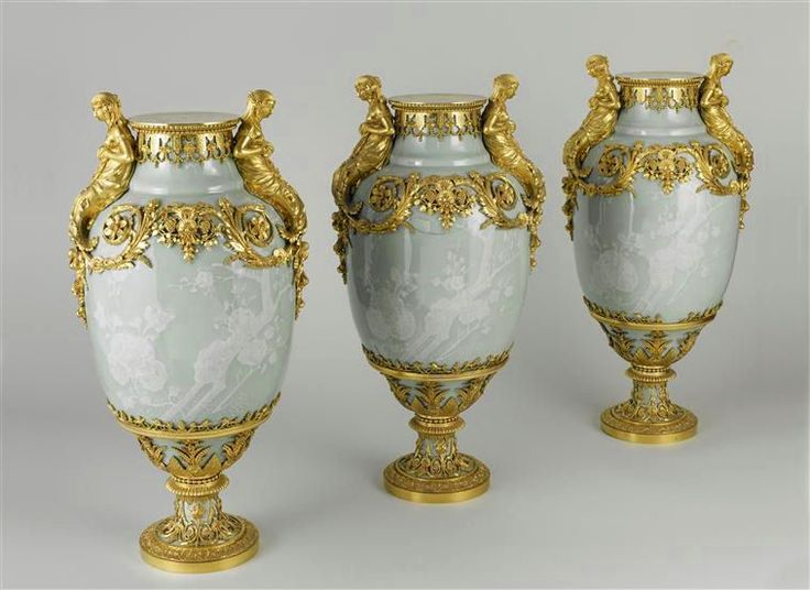 Bronze doré embellished vases from the grand salon of Mesdames at Bellevue, 1780's by Pierre Gouthiere (1732-1813)