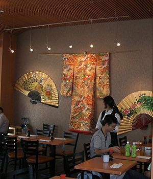 Fans and a Kimono on display at Detroit International Airport.