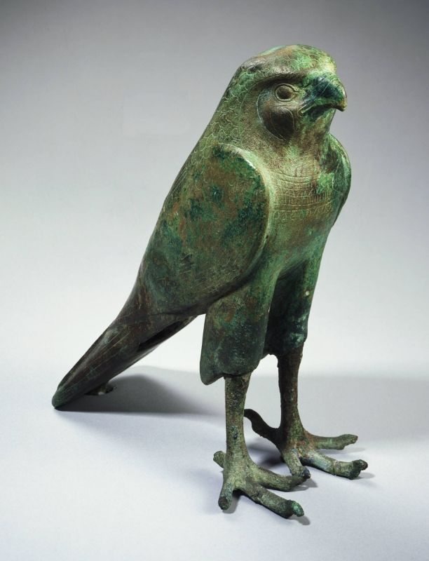 Egyptian, Late Period to Ptolemaic Falcon deity, 664–30 B.C. Bronze includes tangs: h. 24.3 cm., w. 7.0 cm., d. 2.1 cm. (9 9/16 x 2 3/4 x 13/16 in.) Museum purchase, Carl Otto von Kienbusch Jr., Memorial Collection y1953-76