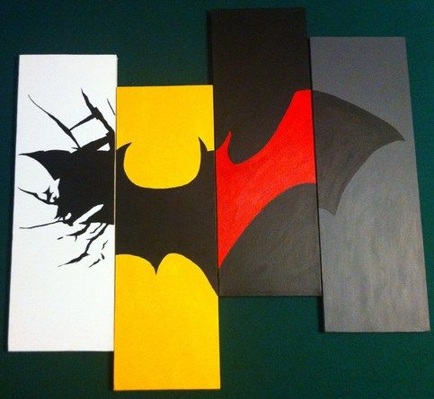 "For this painting I took pieces of my four favorite Batman symbols and made them into one logo. In order from left to right, The Dark Knight Rises, Batman (1989 Film), Batman Beyond, and The New 52 Batman. Size 8"" x 24"" for each piece."