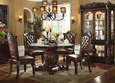 New 5pc Ellery Traditional Cherry Finish Wood Round Glass Dining Table Set