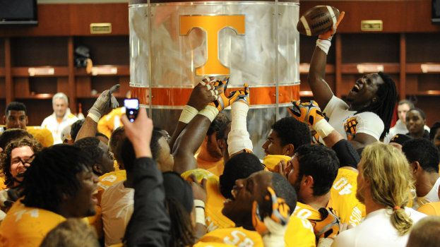 Eric Gordon being hoisted in the Vols locker room with the game ball. Tennessee vs. Vanderbilt 2011, Vols win 27-21