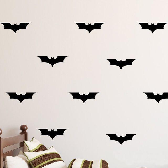 Custom made cor 24 pçs/set Batman Decorações de DIY Adesivos de Parede Batman Decalque Do Vinil, menino Caçoa o Quarto Papel De Parede Mural D401