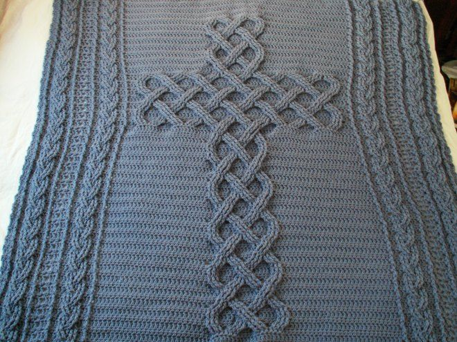 Crocheted Celtic Cross Cable Afghan Made With Chunky