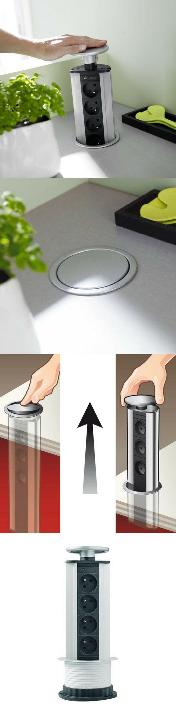 Bloc 4 prises encastrable finition métallisée OTIO pour gagner de la place et optimiser la surface du plan de travail dans la cuisine