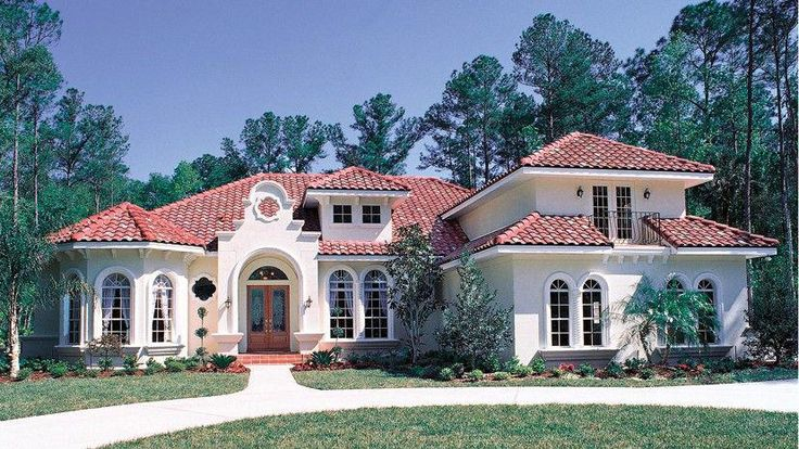 Home Plan Homepw13343 3424 Square Foot 5 Bedroom 4 Bathroom Italianate Home With 3 Garage Bays Homeplans Com Mediterraneanhomes