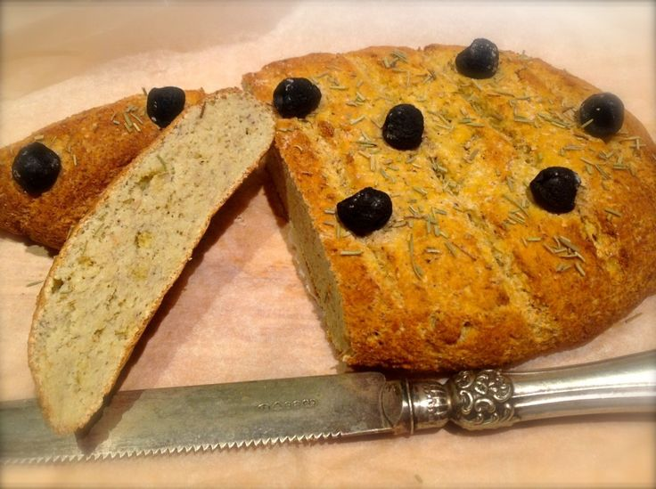 Low Carb Focaccia Bread - coconut flour, psyllium husk, baking powder, Himalayan salt, eggs, boiling water