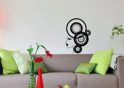 wall vinyl decal sticker art design girl with abstract style beauty spa salon room nice picture