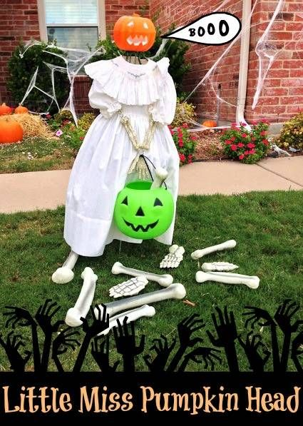 Easy Halloween Outdoor Decor Little Miss Pumpkin Head The TipToe