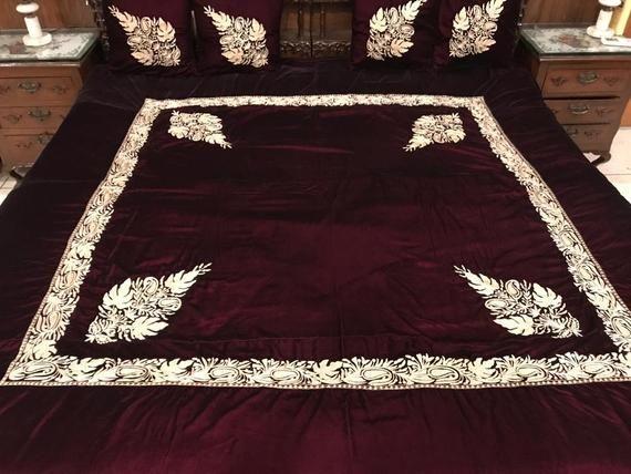 Royal Velvet Bed Cover With Kashmiri Tilla Embroidery Etsy Velvet Bed Cover Velvet Bed Bed Covers