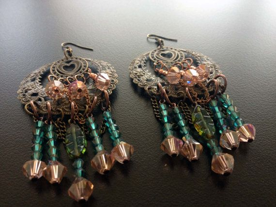 Brass Chandelier Earrings with Swarovski picot & peach light color crystals