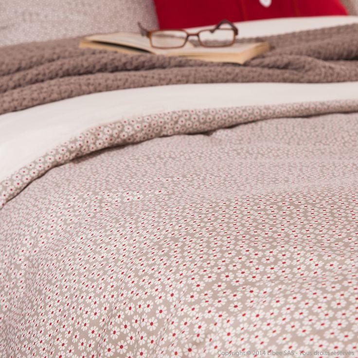 Housse de couette reversible 100% percale de coton fleurs beige/rouge CHLOE Comptoir des toiles