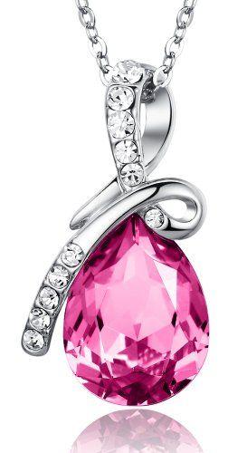 "Eternal Love Teardrop Austrian Crystal Pendant Necklace - Pink Large Crystal 17.5"" Chain 2101701 Arco Iris Jewelry,http://www.amazon.com/dp/B009W7WIPC/ref=cm_sw_r_pi_dp_B2L7sb0989PN4ZJ1"