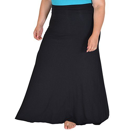 Stretch is Comfort Womens Plus Size LONG Flowy Skirt Black XXXLarge ** Click image for more details.