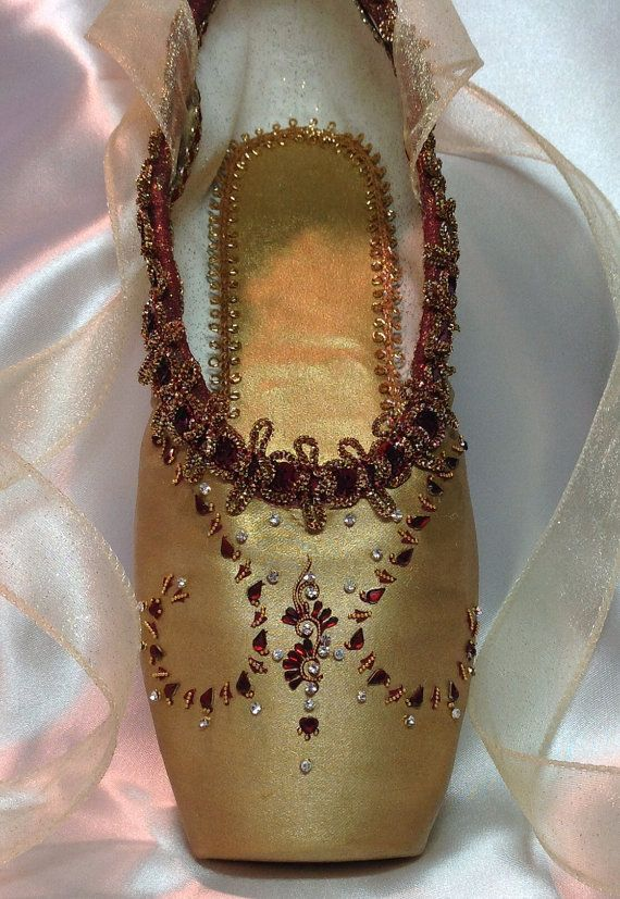 Nutcracker Arabian decorated pointe shoe by DesignsEnPointe