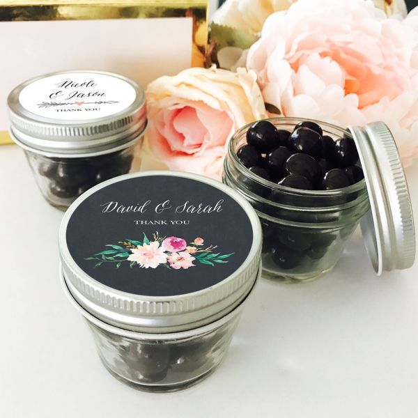 Personalized Floral Garden Small 4oz Mason Jars