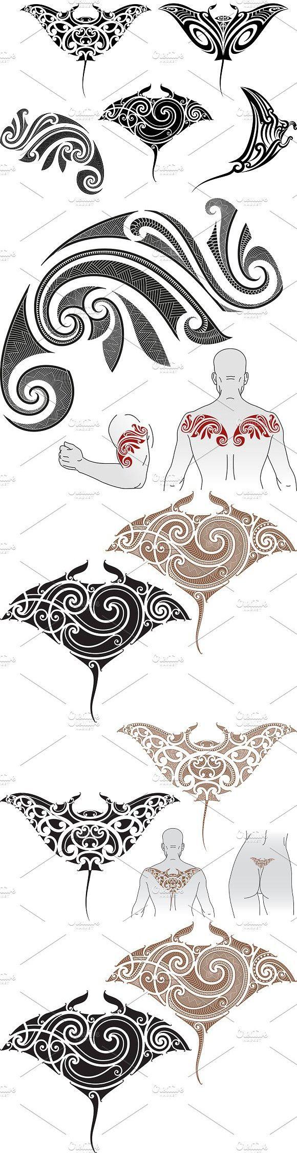 Maori tattoo patterns (5x). Patterns