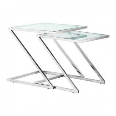 Modern Glass And Chrome Nesting Table Jaunt
