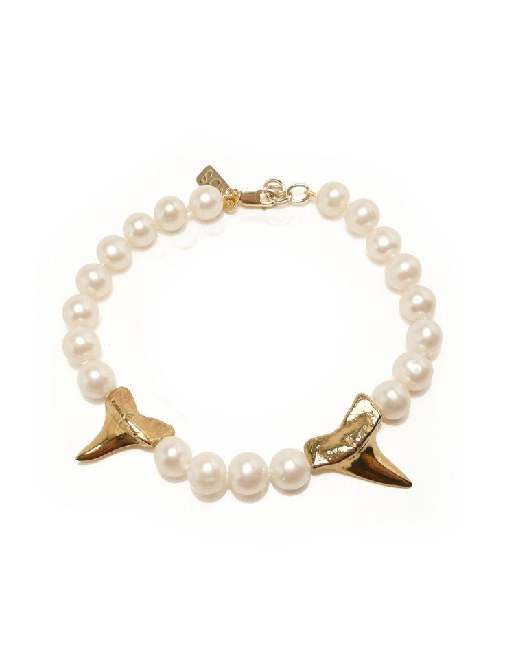 Gold Shark Teeth & Pearl Bracelet - Nektar De Stagni Store
