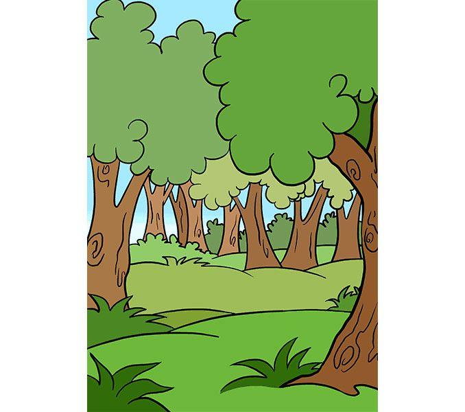 رسم الغابة في هذا الدرس سنتعلم طريقة سهلة لرسم غابة للاطفال الرسم سيكون بقلم الرصاص وخاص للمبتدئين ارسم غابة Forest Cartoon Background Drawing Forest Drawing