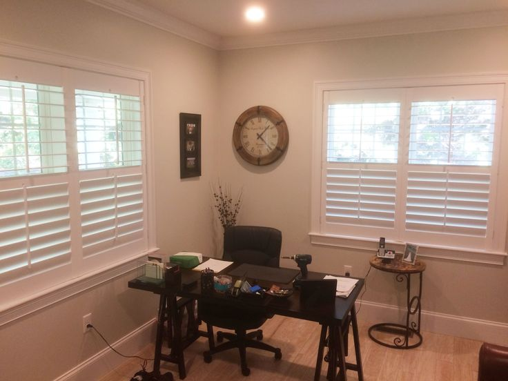 This Home Office Is Complete With Our Plantation Shutter On The Windows.