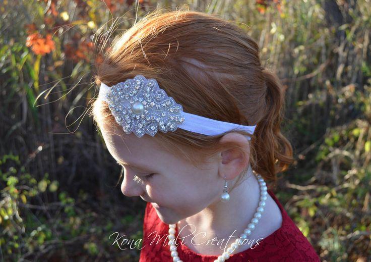 Flower Girl Headband, Rhinestone Headband, Bridal Headband, Crystal Headband, Gatsby Headband, Wedding Headband, Photo Prop, Bling Headband by KonaMaliCreations on Etsy
