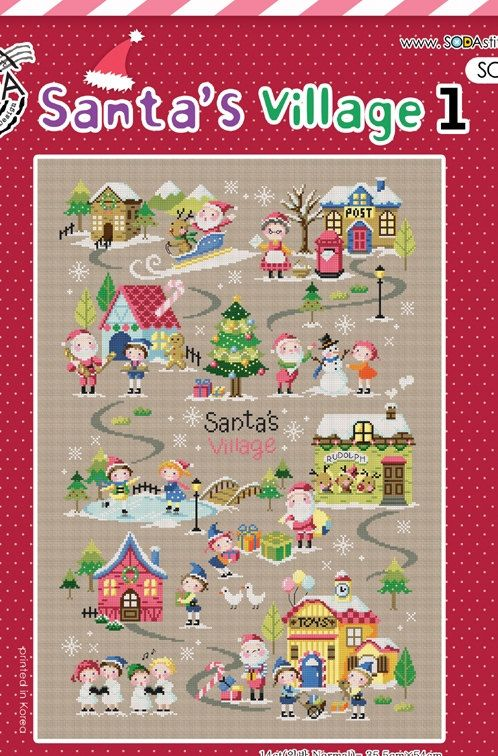 Christmas cross stitch pattern  Santa's Village 1 by sewsewnsew