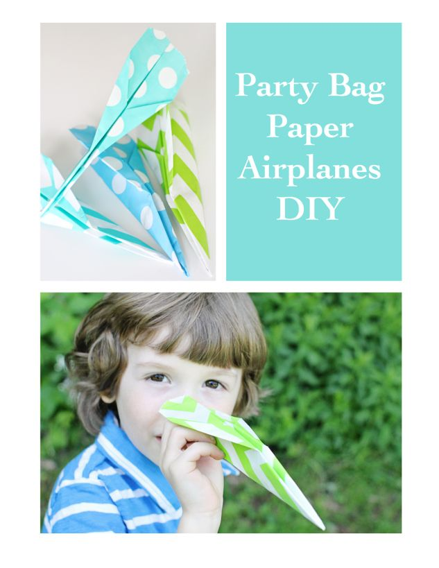Party Bag Paper Airplanes DIY by Unforgettable Impressions for Tatertots and Jello: Bags Paper, Diy'S, Diy Parties, Party Bags, Airplane Diy, 1St Birthday, Paper Airplane, Parties Bags, Airplane Party'S